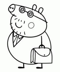 Daddy Pig with his work bag