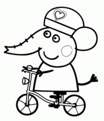 Emily Elephant in bicycle with helmet