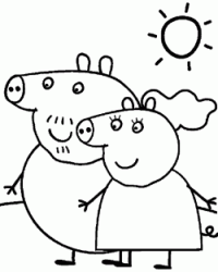 Mummy and Daddy Pig walking on a sunny day