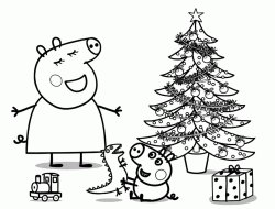 Mummy Pig and George sing near the Christmas tree