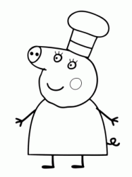 Mummy Pig wearing the chef hat