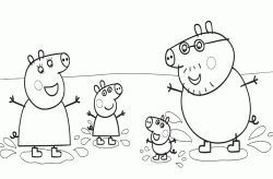 Peppa and her family playing in the mud