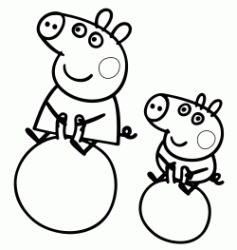 Peppa Pig and George are the jugglers on the ball