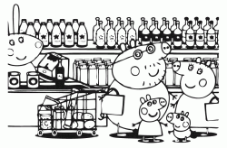 Peppa Pig and her family at the Supermarket