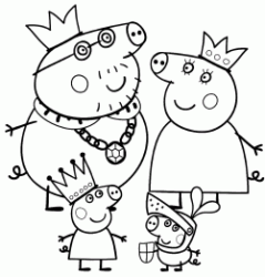 Peppa Pig and her family dressed like a king and queen