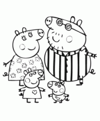 Peppa Pig and her family in pajamas