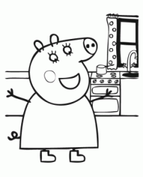 Peppa Pig happy in the kitchen