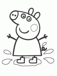 Peppa Pig jumping in the puddle with her boots