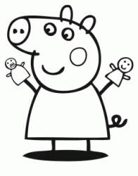 Peppa Pig plays with her dolls puppets