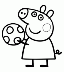 Peppa Pig plays with the ball