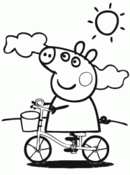 Peppa Pig rides a bicycle on a sunny day