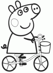Peppa Pig rides a bicycle