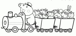 The Grandpa Pig's train with all Peppa Pig friends