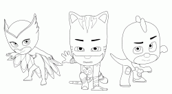 Catboy Owlette and Gekko the Pj Masks team