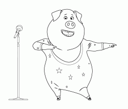 Rosita the pig performs on stage