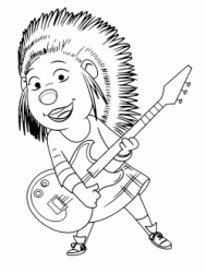 The porcupine Ash plays her guitar