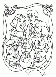 A painting by Snow White the prince and the seven dwarfs