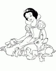 Snow White and the animals of the forest