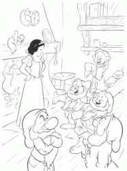 Snow White checks if the hands of the seven dwarfs are clean