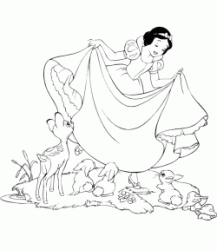 Snow White dances with the animals of the forest