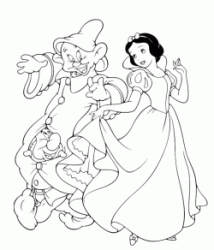 Snow White dances with the dwarfs