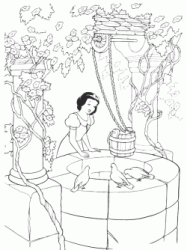 Snow White looks into the well