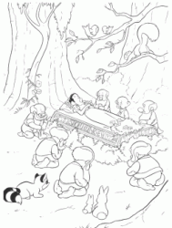 The dwarves cry near the coffin of Snow White