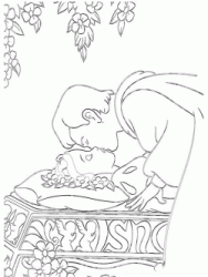 The prince kisses Snow White