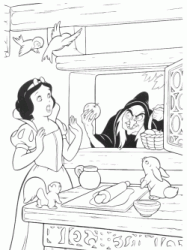 The witch offers the apple to Snow White