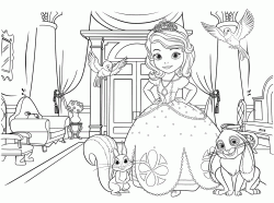 Sofia with her animal friends in a royal palace room