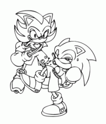 Shadow hits a fist at Sonic