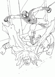 Spiderman against an enemy