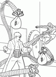 Spiderman against Doctor Octopus as he steals bank