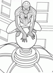 Spiderman atop skyscraper