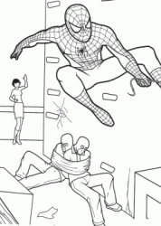Spiderman saves a girl