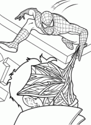 Spiderman shoots a cobweb