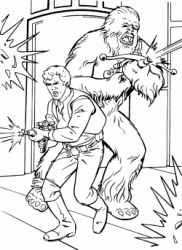 Han Solo and Chewbacca shoot their enemies