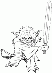 The Jedi master Yoda ready to fight with his lightsaber