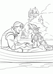 Flynn and Rapunzel on the boat