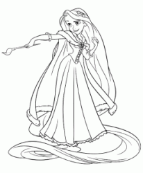 Rapunzel with brush in hand