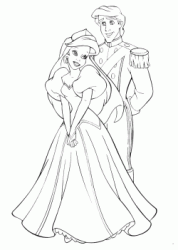 Ariel and Eric dressed as bride and groom