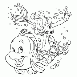 Ariel and Sebastian pursue Flounder undersea