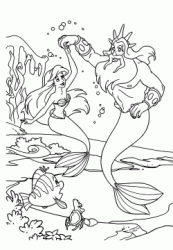 Ariel dances with his father Triton at the bottom of the sea
