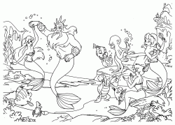 Ariel dances with Triton while the other sea creatures play