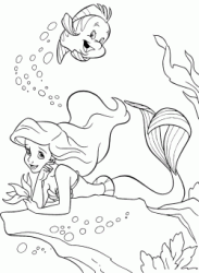 Ariel rests on a rock at the bottom of the sea with Flounder