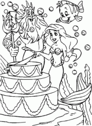 Triton and Flounder watch Ariel cut the birthday cake