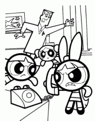 Blossom on the phone while Bubbles and Buttercup wait angrily