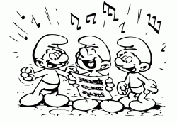The Smurfs sing in chorus