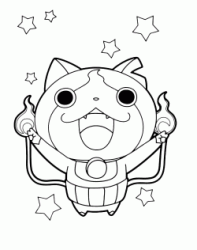 Yo kai Jibanyan exults with his arms raised