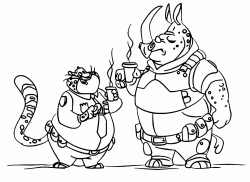 The cheetah Benjamin and the rhinocero McHorn drinking coffee together